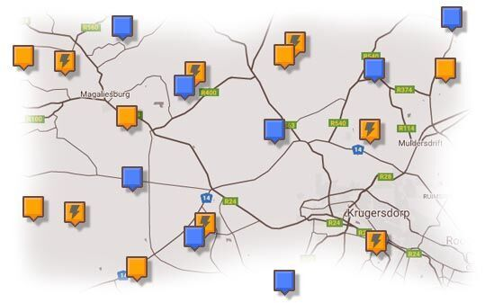 Map of West Rand Accommodation